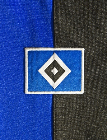 hsv: Colors and Badge of soccer Club HSV, Hamburg, Germany.