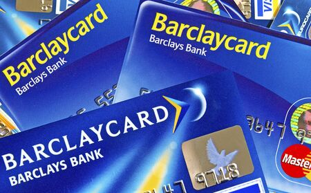 bank branch: Illustration of Barclays Credit Cards. Barclays PLC is a global banking and financial services company headquartered in London, United Kingdom. Editorial