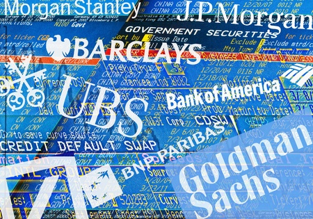 Illustration of trader screens, Logos and Lettering of Big Banks: