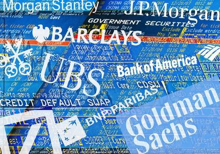 swap: Illustration of trader screens, Logos and Lettering of Big Banks: