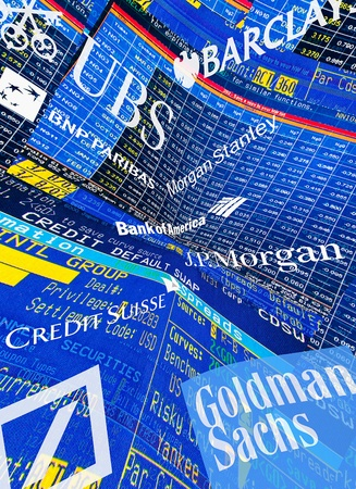 paribas: Crisis gravity illustration of trader screens, Logos and Lettering of global Investment Banks Editorial