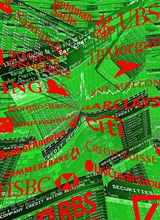 fails: Green colored trader screens, and Logos of Too Big To Fails Banks according to the Financial Stability Board. Editorial