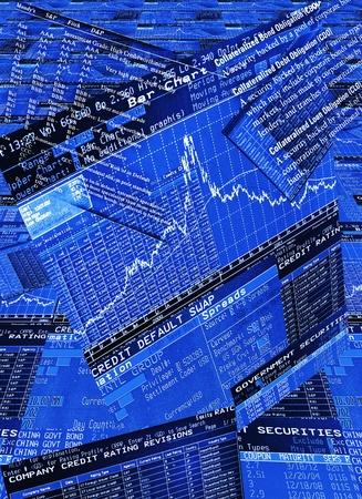 equidad: Pantallas de color azul comerciante (Bloomberg, Reuters) mostrando la información financiera de los mercados de renta variable, renta fija secirities, swaps y derivados en un piso de negociación de un banco de inversión global. Editorial