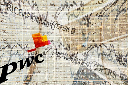 Illustration of audit firm PricewaterhouseCoopers (PwC). PwC is a global professional services firm headquartered in London, UK.