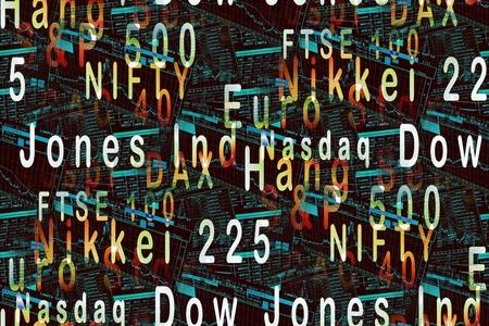 世界の株価指数のイラスト: ダウ ・ ジョーンズ工業株平均、DAX、cac40 指数、気の利いた、Nikkei225、ナスダック、FTSE100、ハンセン、ユーロ Stoxx、S &