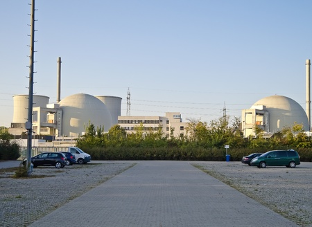 Biblis (Germany), October 16, 2011: Nuclear power station in Biblis (Hesse, Germany). Plant operator: RWE Group. The seven nuclear power plants immediately shut down in Germany after Fukushima include Biblis.