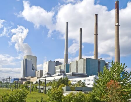 Grosskrotzenburg, Hesse, Germany - September 15, 2011: A working fossil-fuel power station. The Power station called Staudinger Kraftwerk, operator: EON Group.
