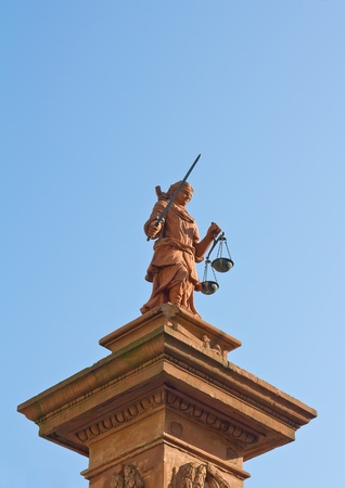 erected: Lady Justice (erected 1778) in Worms, Germany