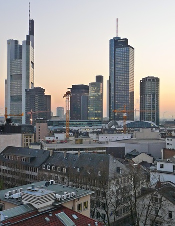 finacial: Frankfurt, Germany: Skyline of the finacial district at dusk