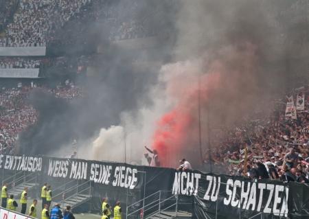 troublemaker: Frankfurt, Germany, 29 April 2012: Football Fans of Eintracht Frankfurt