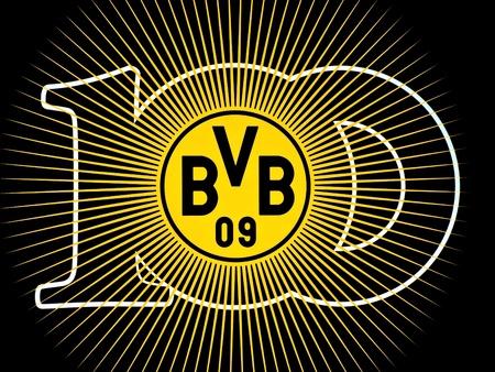 ドイツのサッカー クラブのボルシア ・ ドルトムント: 100 年記念日 (1909年-2009) バッジ 報道画像