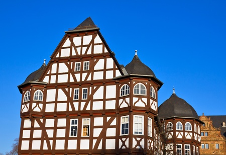 half timbered: New Castle and Arsenal, Giessen, Hesse, Germany Editorial