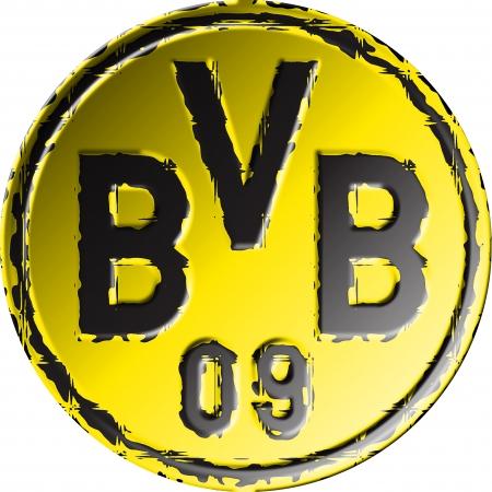 ドイツのフットボール クラブ ボルシア ・ ドルトムントのバッジ 報道画像