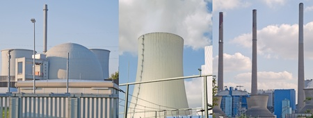 Working fossil-fuel power station in Grosskrotzenburg, Germany, and atomic power plant in Biblis, Germany