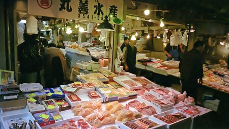 fish market: Tokio, Japan: Central Wholesale Market, better known as the Tsukiji fish market.  Editorial