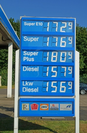 benzin: Motorway service area near Cologne, Germany, August 23, 2012: Petrol prices hit another record high in Germany