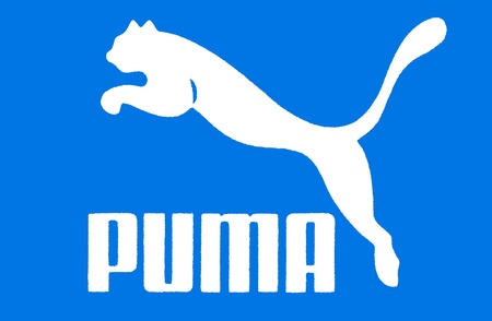 multinacional: Puma azul s�mbolo: ropa deportiva alemana multinacional produciendo