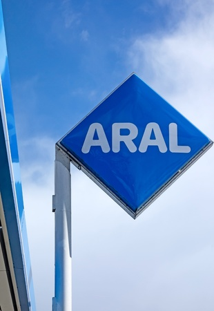 Marburg, Germany - April 12, 2013: Petrol station of Aral. Aral (owned by BP PLC) is brandname of car fuels and gas stations, mainly available in Germany and Luxembourg.