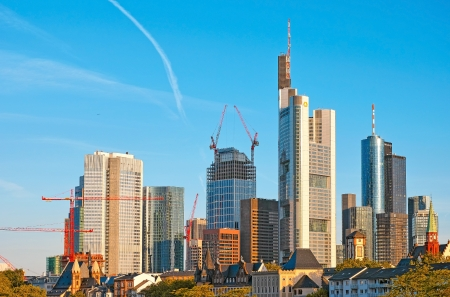 Frankfurt am Main, Germany - June 3, 2013: View of the financial district of Frankfurt