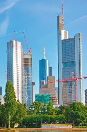 bridgework: Frankfurt am Main, Germany - June 3, 2013: Bank towers under construction Editorial