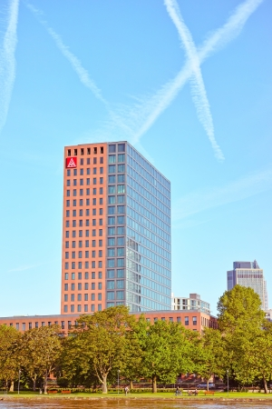 free vote: Frankfurt am Main, Germany - June 3, 2013: IG Metall headquarter at Main River in Frankfurt, Germany. IG Metall (German: Industriegewerkschaft Metall meaning Industrial Union of Metalworkers) is the dominant metalworkers union in Germany. Background: Germ