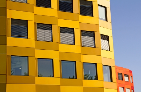 Giessen, Germany - June 18, 2013: Biomedical Research Center Giessen. Inauguration: 2012. The building facade is made of colored anodized aluminium.