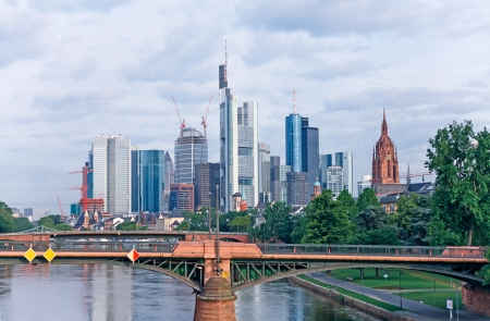 Frankfurt am Main, Germany - June 15, 2013: Tristesse view of the bank towers of the financial district of Frankfurt am Main.