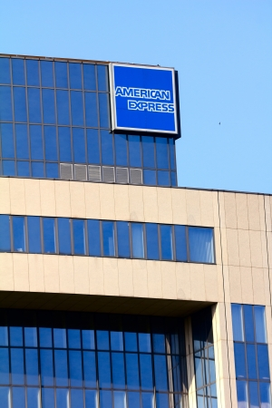 multinational: Frankfurt, Germany - July 13, 2013: Office building of multinational financial services firm American Express (AmEx)