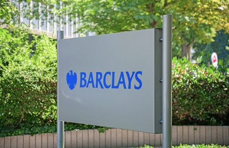 westend: Frankfurt, Germany - July 7, 2013: Office sign of British financial services firm Barclays plc in Frankfurt, Bockenheimer Landstrasse