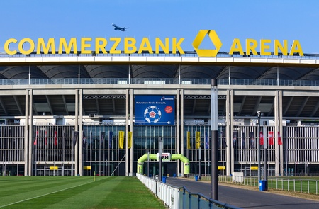 Frankfurt, Germany - July 27, 2013: Top of trhe Commerzbank-Arena, the main sports and football stadium in Frankfurt.