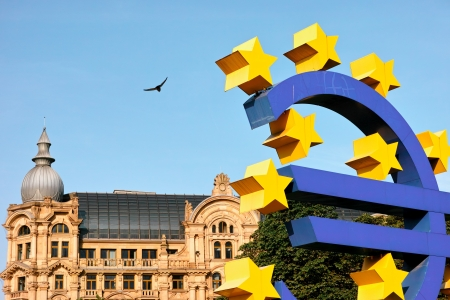 Frankfurt, Germany - July 15, 2013  Euro Currency Sign at Willy Brandt Platz as Artwork by  German Artist Ottmar Hörl