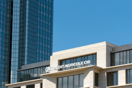 Frankfurt, Germany - July 7, 2013  Office of French banking giant Credit Agricole Corporate and Investmentbanking in Frankfurt am Main Editorial
