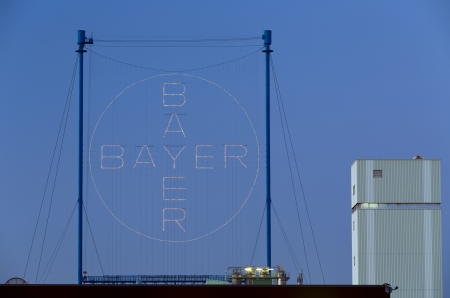 Leverkusen, Germany - September 5, 2013  Huge illuminated advertising at the headquarter and factory of chemical and pharmaceutical Company Bayer AG