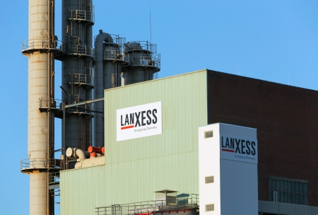 Leverkusen, Germany - September 5, 2013: German based speciality chemicals Group Lanxess AG at chemical park Leverkusen