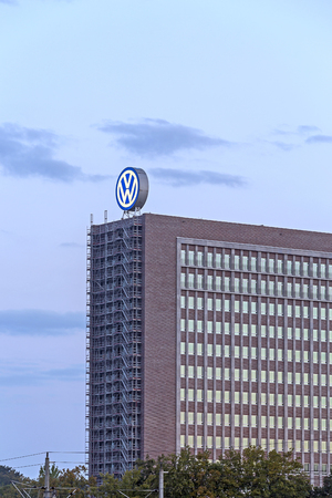 rise: Wolfsburg, Germany - September 26, 2015: Office building of the board of management of German automobile manufacturer Volkswagen AG Editorial