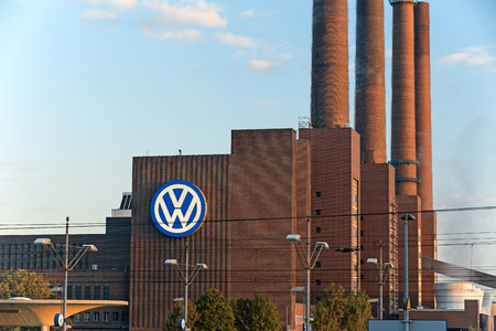 famous industries: Wolfsburg, Germany - September 26, 2015: Heating station at Volkswagen manufacturing facility, famous landmark of Wolfsburg, Lower Saxony, Germany