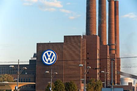 powerhouse: Wolfsburg, Germany - September 26, 2015: Heating station at Volkswagen manufacturing facility, famous landmark of Wolfsburg, Lower Saxony, Germany