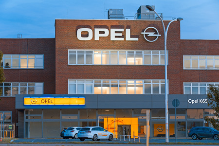 production area: Ruesselsheim, Germany - August 29, 2015: K65 building of Opel Bank of automotive manufacturer Adam Opel Group at the production area in Ruesselheim, Germany Editorial