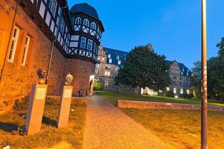 campus tour: Giessen, Germany - September 28, 2015: New Castle and Arsenal arsenal of Giessen at night, buildings belong to University of Giessen.