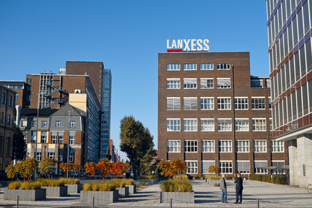 ag: Leverkusen, Germany - October 1, 2015 - Office building of specialty chemicals company LanXess AG at chemical park Leverkusen