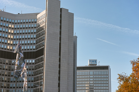 headquartered: Essen, Germany - November 1, 2015: Office building of Germann utlitity company headquartered in Essen, Germany