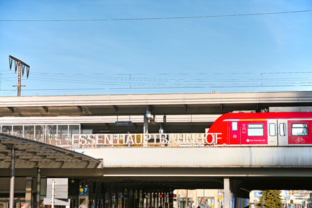ag: Essen, Germany - November 1, 2015: Train of German Bahn AG at central station of Essen Editorial