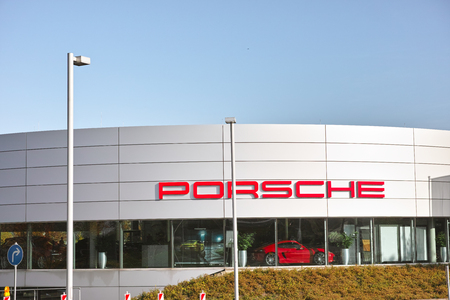 ag: Essen, Germany - November 1, 2015: Showroom of German automobile manufacturer Porsche AG owned by Volkswagen AG in Essen, Germany.
