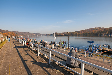 dysentery: Essen, Germany - November 1, 2015: Sailing event at Lake Baldeneysee Baldeney in Essen, Germany