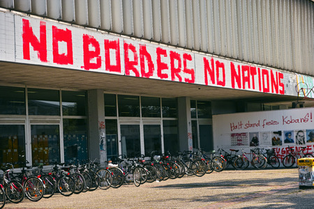 No Borders No Nations: Graffiti at Marburg University Library of Hesse, Germany