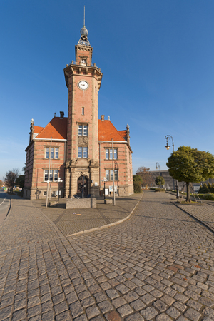rhine westphalia: Dortmund, Germany - November 1, 2015: Old Port Authority Building Historic monument at harbor area of Dortmund, North Rhine Westphalia, Germany