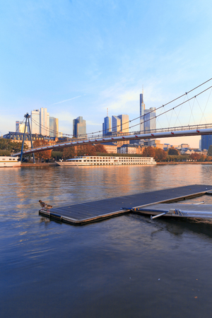 sachsenhausen: Frankfurt am Main, Germany - October 24, 2015: Pedestrian bridge over Main River Editorial