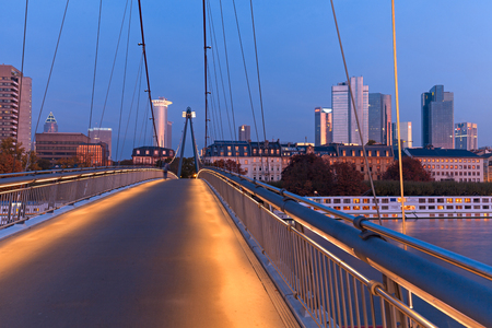 sachsenhausen: Frankfurt am Main, Germany - October 24, 2015: Holbeinsteg - Illuminated pedestrian bridge over Main River