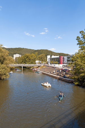 city park boat house: Marburg an der Lahn, Germany - August 1, 2015: View of riverside cafeteria and canteen of Marburg University and Lahn river