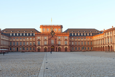 Mannhein, Germany - September 21, 2015: Baroque palace of Mannheim, Central building of Mannheim University.
